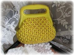 Vintage Yellow Beaded Purse 1950's 1960's by divinelyvintage, $9.50