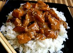 Slow Cooker Honey Sesame Chicken,  minus the rice, of course