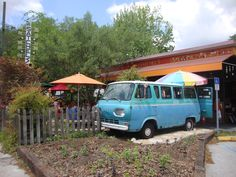 Satchel's Pizza in Gainesville. You can even enjoy your meal in a 1960's Ford Van! #gainesville #pizza