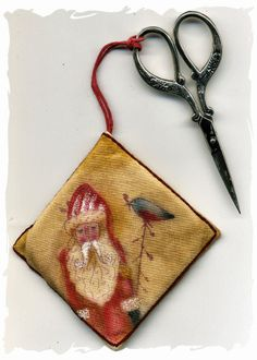 Primitive stitchery and stamping  ornament  by lizziebusyhandmade, $7.00