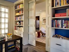 Blue backed bookcases