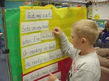 Students use the pocket chart to build sentences using teacher-made words, rebuild  poems we have been studying, and retell stories.