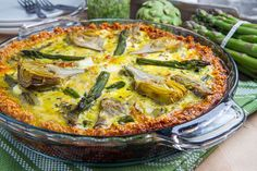 Asparagus, Baby Artichoke, Pesto and Goat Cheese Quiche with Quinoa Crust