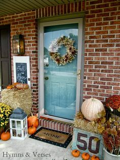Teal door on red brick house | Fall Front Porch | Hymns and Verses