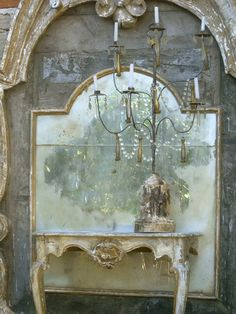 A tall mirror, girandole and little console, made by Elise Valdorcia's Company. Photo by Elise Valdorcia  www.elisevaldorci...