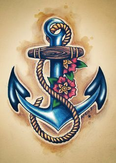 blue anchor tattoo with flowers rope - http://tattooswall.com/blue-anchor-tattoo-with-flowers-rope.html #anchor, anchor tattoo, anchor tattoos, blue, flowers, rope, tattoo, with