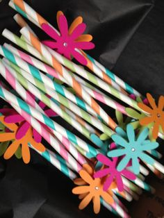 Flower Birthday Party Decoration, Girl Party Favor, Flowers, Princess, Garden Party, Embellished Pixie Striped Paper Straws - Set of 10