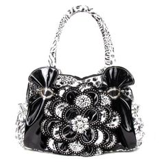 Handbags, Bling & More! Black Leopard Crystal Leaf Rhinestone Flower Fashion Handbag W Matching Wallet In Stock $62.99