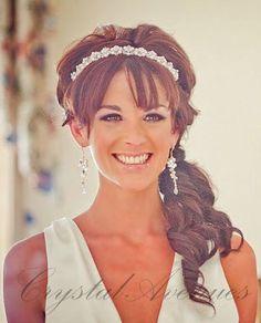 Pearl Bridal Tiara Headband , Wedding jewelry, Bridal head piece, Crystal rhinestones, Wedding, Headpiece, Swarovski pearls. $30.00, via Etsy.