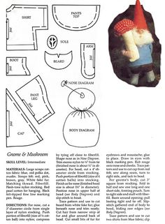 gnome softi, mushroom pattern, doll patterns, art sew, sew pattern, sew craft, gnomes, gnome pattern, softies