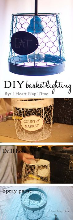 Basket DIY light fixture