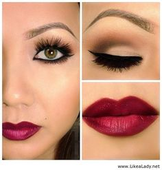 neutral eyes with a bold lip.. Love!