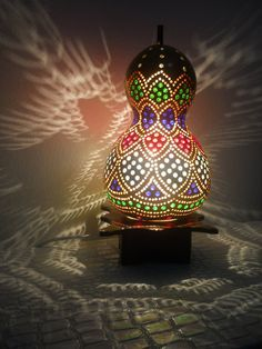 Hanging lantern, made from a gourd!