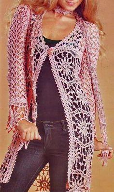 Pink Crochet Sweater