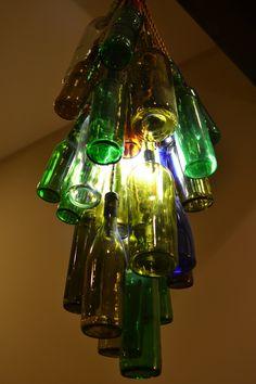 DIY bottle chandelier
