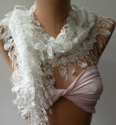White  Elegance  Shawl / Scarf with Lacy Edge by womann on Etsy, $18.00