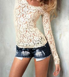 jean shorts, fashion, lace tops, sleev, outfit