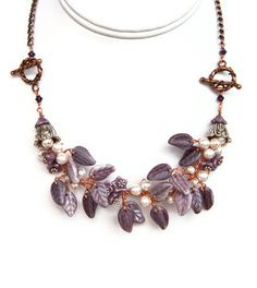 Purple  Flower  Necklace, Beaded Necklace, Nature Jewelry, Bridal Jewelry with mixed metals. $71.95, via Etsy.