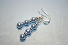 Pretty Dangle Light Blue Swarovski Pearl Sterling Silver Earrings