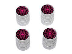 Atomic Symbol Pink - Tire Rim Wheel Valve Stem Caps-Pink Car Accessories | Girly Car Accessories
