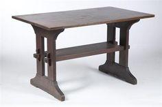 Gustav Stickley, New York, Arts & Crafts Table, early 20th century, oak, stretcher base, 29 H. x 48 W. x 29.5 D.