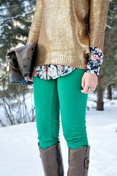 gold sweater, floral button down, green pants... kind of obsessed with floral at the moment!