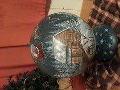 Hand painted Santa reindeer world globe.