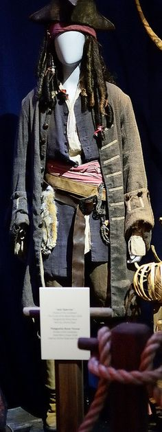 Jack Sparrow Costume from Pirates of the Caribbean: Curse of the Black Pearl-  Worn by Johnny Depp.--  Taken at the D23 preview of Treasures of the Walt Disney Archives exhibit at the Ronald Reagan Library in Simi Valley, California.