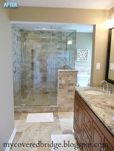 Like the color of the tile and the little wall for the shower.