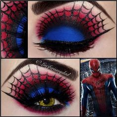 Wicked #Spiderman look by the amazingly talented Luciferismydad using #Sugarpill Love+ red eyeshadow and #UrbanDecay Chaos. Look at those perfect lines and luscious lashes! And those contacts - such perfect execution!