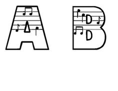 Letters Lletres amb notes musicals