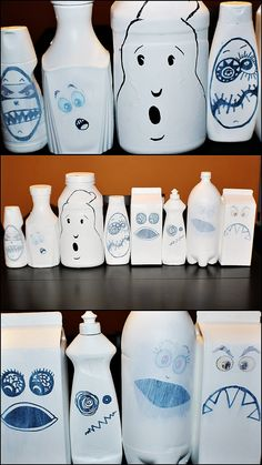 Ghosts made from recycled bottles we found around the house!    You can use Coffee creamer, shampoo, lotion, juice jugs, mayo, etc etc etc!!