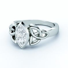 Triquetra Celtic Solitaire Marquise Diamond Engagement Ring bezel set ES836MQWG