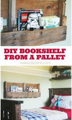 How to make a pallet bookshelf! Three cuts, that's it! #diy #palletbookshelf {www.lollyjane.com}