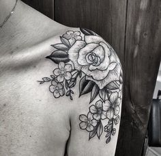 woodcut flower tatto