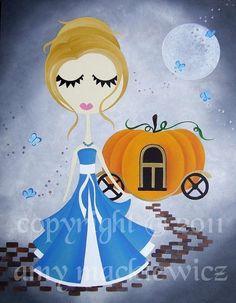 Cinderella Fairy tale Art Print Cute Girls Illustration Cinderella and her Pumpkin carriage