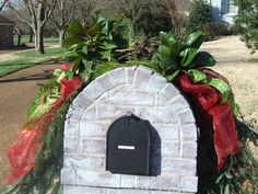 Another look at the Red Deco Mesh, Lime Green & Red Ribbon and Greenery - Christmas Mailbox