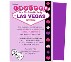 Bachelorette Party Invitation Templates: Vegas Bachelorette Party Invitation Template. Going to Vegas for the big party? Send out these DIY template invites!
