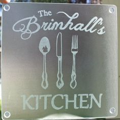 """Custom Etched Glass Kitchen Cutting Board 8""""square. Gift for Mom,Sister,Grandma,Vintage silverware,House Warming Gift"""