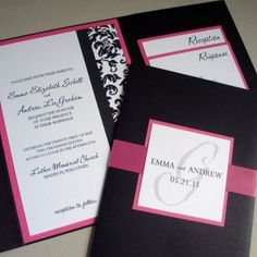 Pocketfold Wedding Invitation Pink Damask
