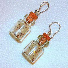 Dandelion Seed Fairy Wing Glass Bottle Earrings