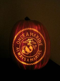 """#USMC #military #veterans """"Once a Marine  Always a Marine"""" Perfect Halloween Pumpkin for the Marine in your life - MilitaryAvenue.com - Post Jobs and Become a Sponsor at www.HireAVeteran.com"""