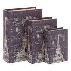 3 Piece Eiffel Tower Book Box Set, for my Paris bedroom