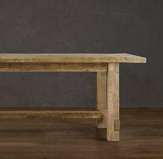 Farmhouse table with a simple sturdy design.