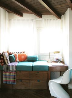 custom window seat/desk by Justina Blakeney
