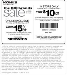 Kohls Printable Coupons: $10 off $30 on Select Mens Apparel + Accessories - Expires 5/4 coupons, accessori, kohl printabl, kohl coupon, kohls, kohl promo, printabl coupon