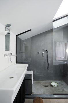 plaster bathroom, cement interior, shower rooms, sink, master baths, walk, modern bathrooms