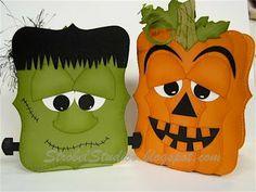 """Stampin' Up! """"Top Note"""" die .. Frankenstein, pumpkin, punch art"""
