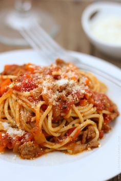 Spaghetti with Simple Meat Sauce. w/ step by step photos