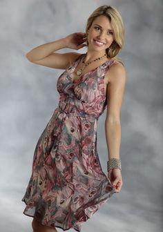 Roper® Wine Feather Print Chiffon Sleeveless Western Dress